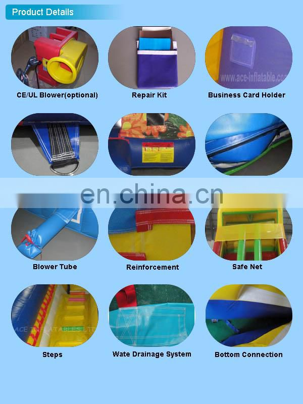 Marble Top quality Giant inflatable water slide with pool