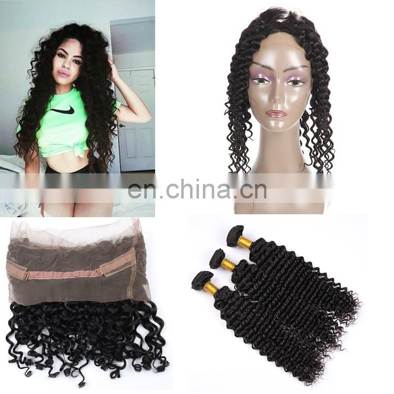 brazilian hair 360 lace frontal with bundles 100% virgin hair unprocessed hair extension human