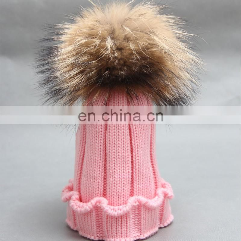 Crochet pom pom hats kids child knitted winter hats with large poms