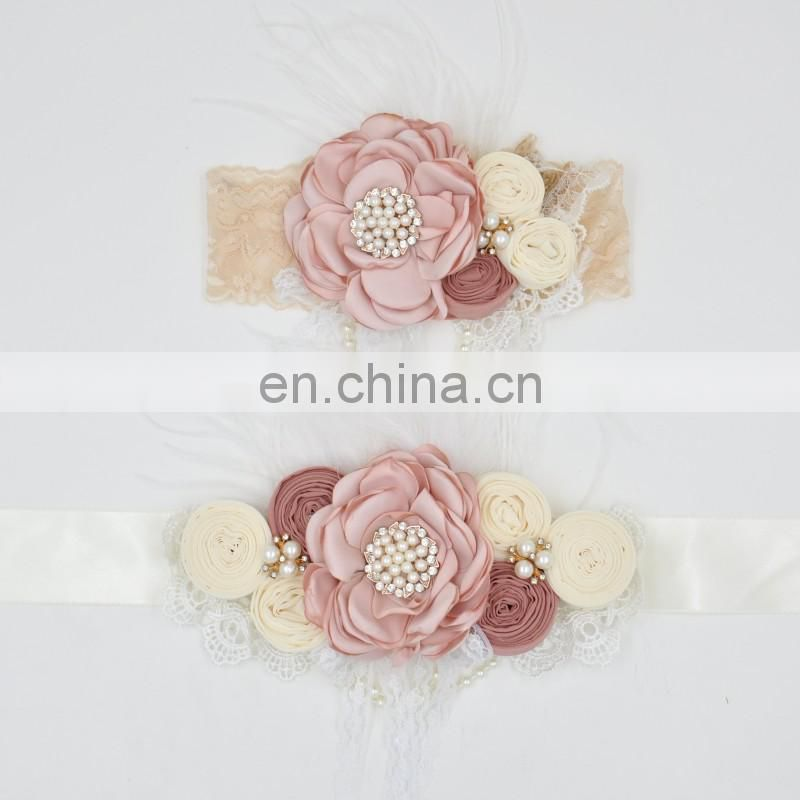 Ivory Sash Headband Set Beaded Floral Crown Cream Lace Headband With Feather Pearl Sash Belt For Wedding