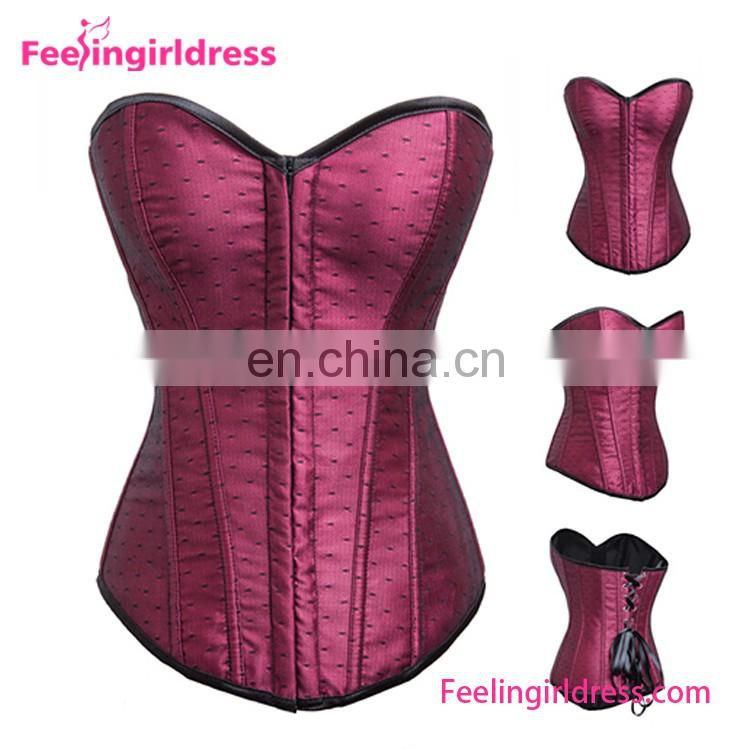 YIWU High Quality Dark Red Steel Boned Bra Overbust Women Underwear Sexy NO MOQ Corsets With Ribbon