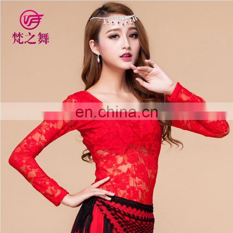 Sexy elegant lace long sleeve egyptian women belly dance top blouse clothes S-3017#