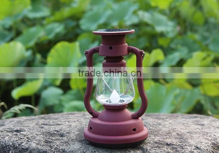 Rechargeable LED solar camping lamp with hand crank