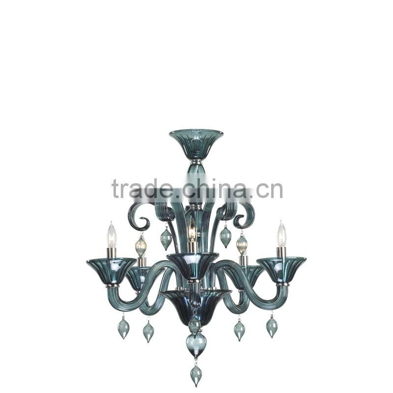 2016 new arrival unique dark blue glass colored murano chandelier for sale online