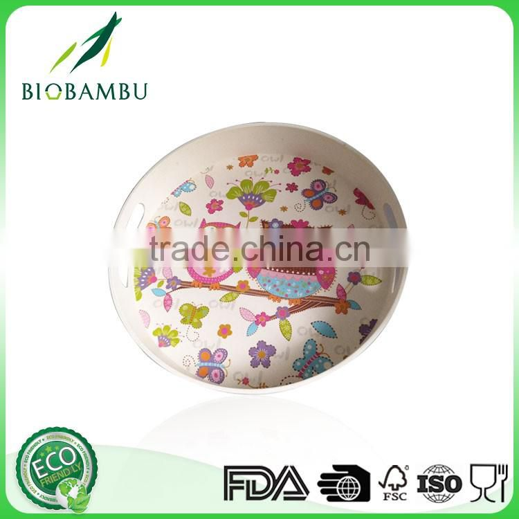 Good Capacity Diswasher safe Cartoon pattern Bamboo fiber Plate with decal printing