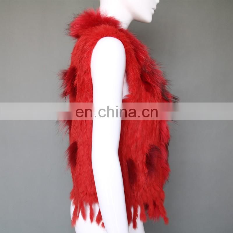 Genuine fur vest high quality women lady rabbit/rccoon fur gilet handmade