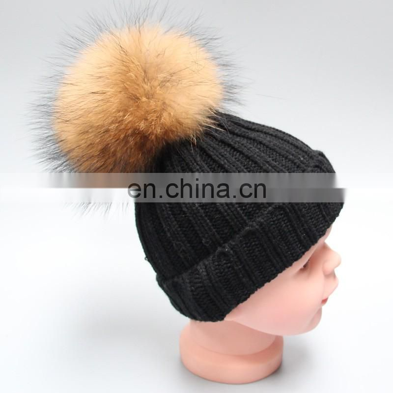 Colorful knitted hats with fur pompon kids child knitted winter beanies