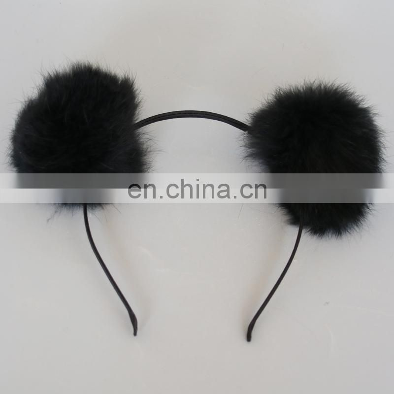 8cm real rabbit fur ball hairband for girl lady fashion handmade fur accessories