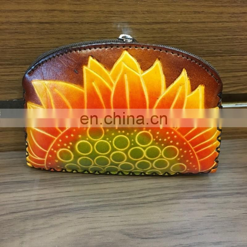 Handmade Real Leather Coin Purse ladybag Pattern zip Closure