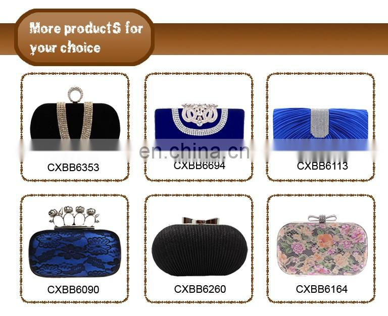 Popular Elegant Women With Clear Crystal High Quality Clutch Black Chain bag Wedding Bridal Satin Evening Bag
