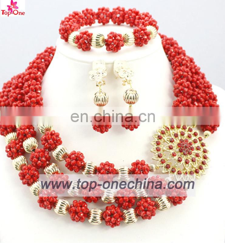 Fashion african beades jewerlyNigeria wedding necklace with earingsParty jewelry set coral beads