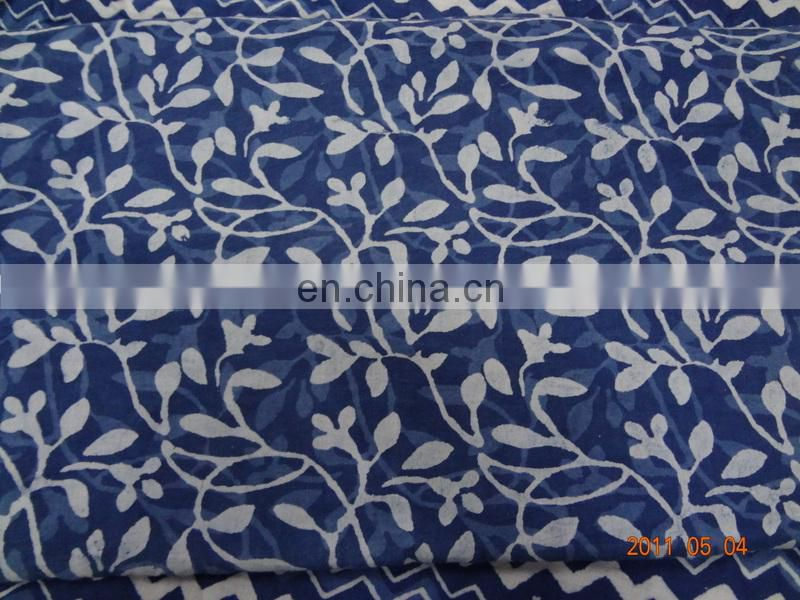 Indian Hand Block Print 100% Cotton Running Fabric By The Yard Shibori Tyed and Dyed fabric