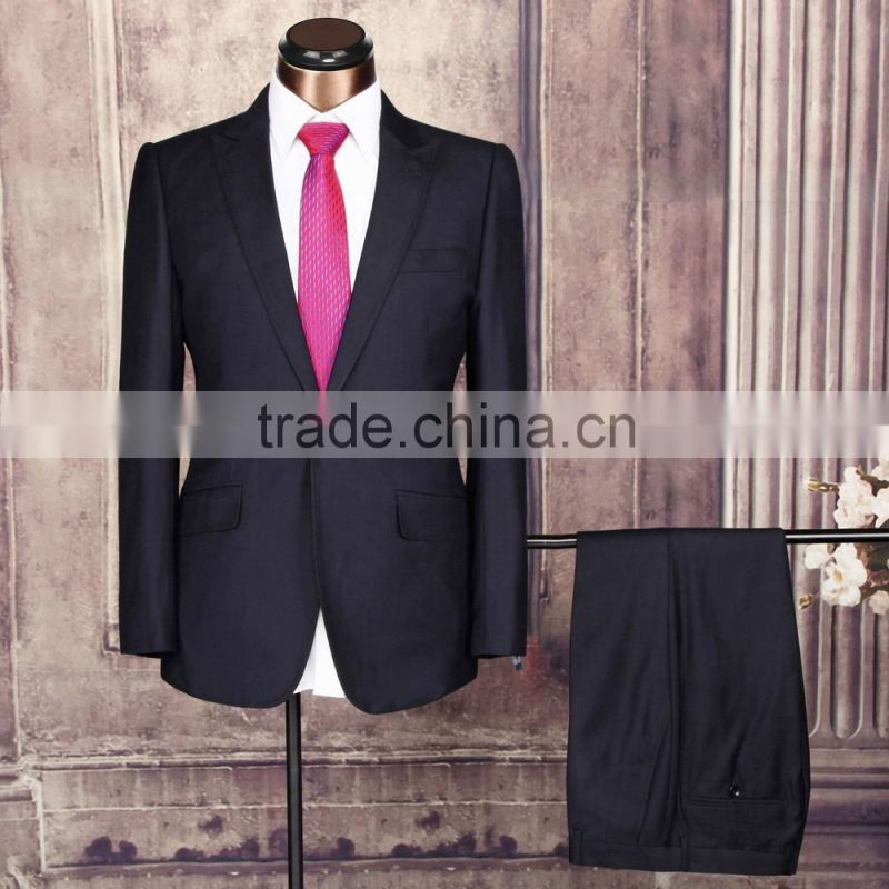 2016 Trendy Coat Pant Business Suit Stylish One Button Black Polyester/Rayon Men Suit