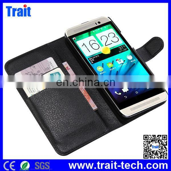 Cheap Wallet Style Magnetic Flip Stand PC PU Leather Case for HTC One (E8) Ace