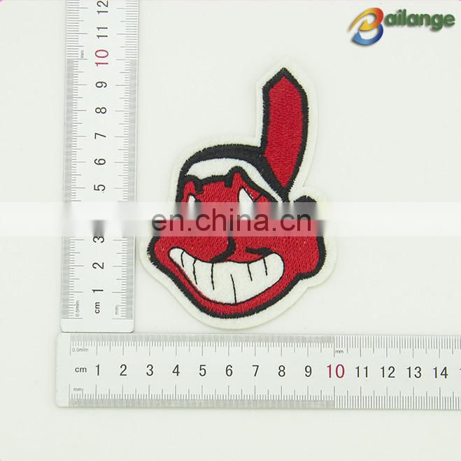 Red face design custom brand clothing embroidery patches for sewing accessories