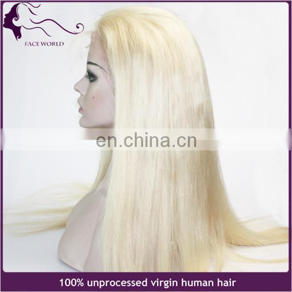 Stock 130% density indian virgin human hair blonde 613 color full lace wig