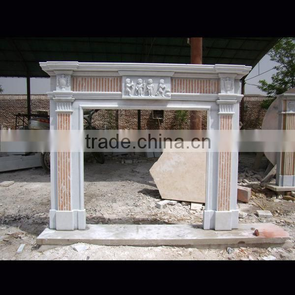Marble stone fireplace carving