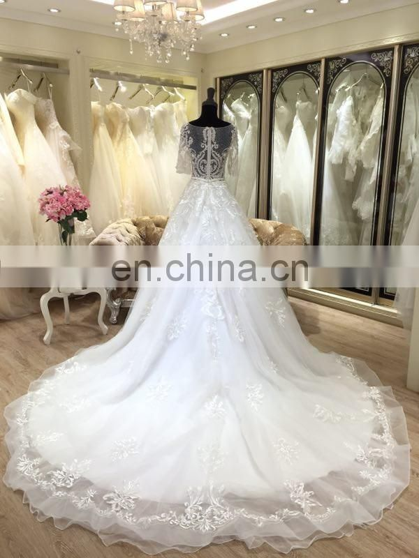 2017 simple zuhair murad wedding dresses short sleeve