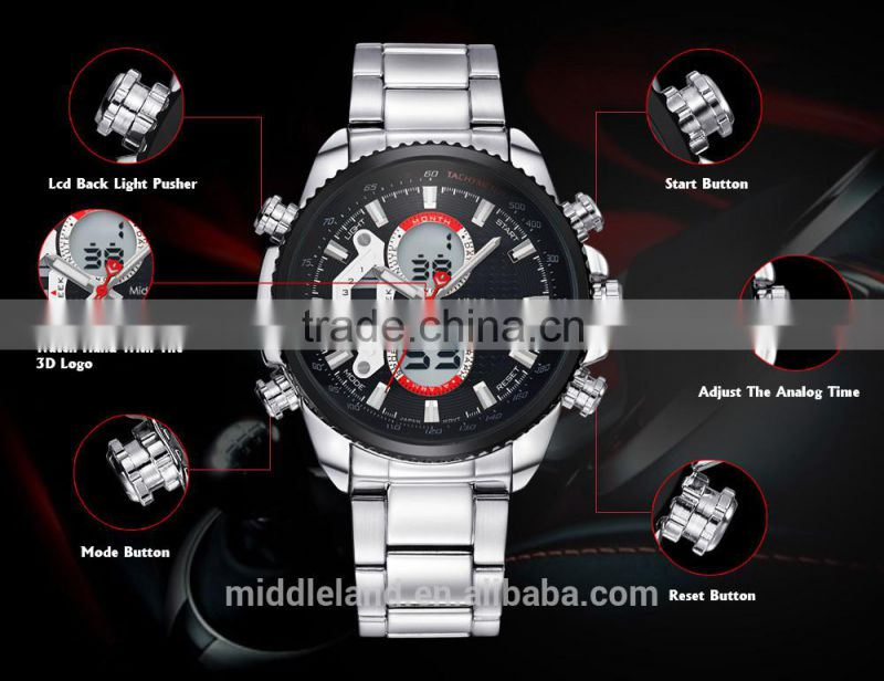 2015 new fashion men watches Stainless steel new fashion men watches Stainless Date Men Quartz Wristwatch stainless steel Band