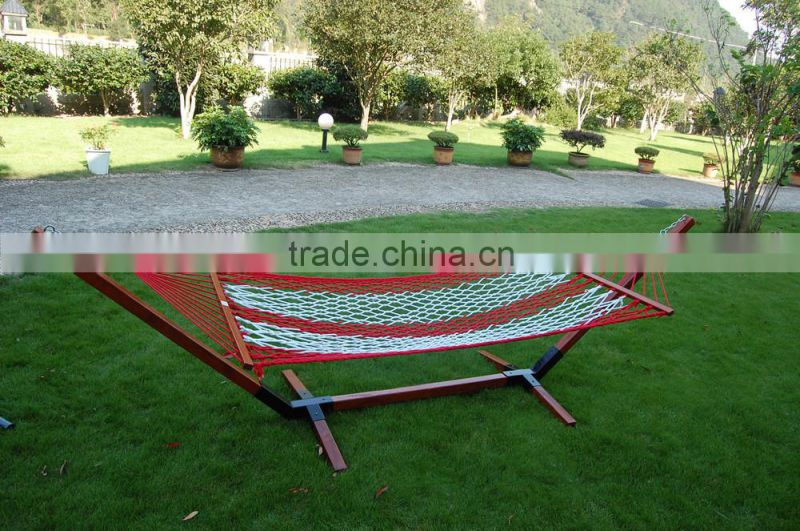 Outdoor leisure garden hammock with wooden stand