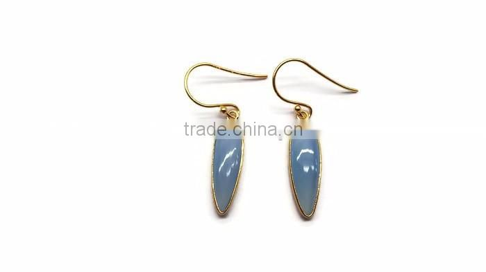 925 Sterling Silver 2 micron gold plated Blue Chalcedony gemstone earring