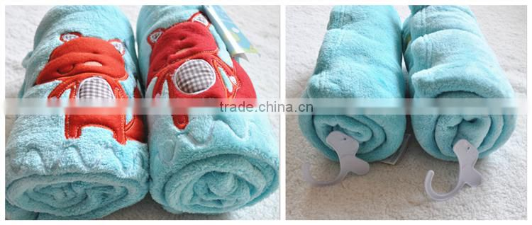Animal Cartoon Embroidered Super Soft Solid Coral Fleece Baby Blanket