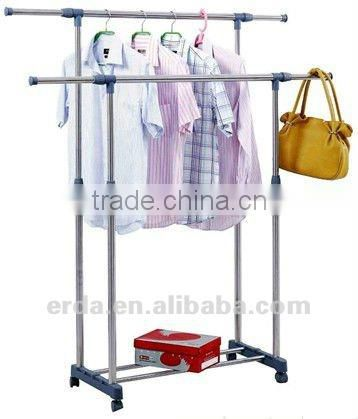 Extendable Single-pole clothes Hangers with Shoe Shelf