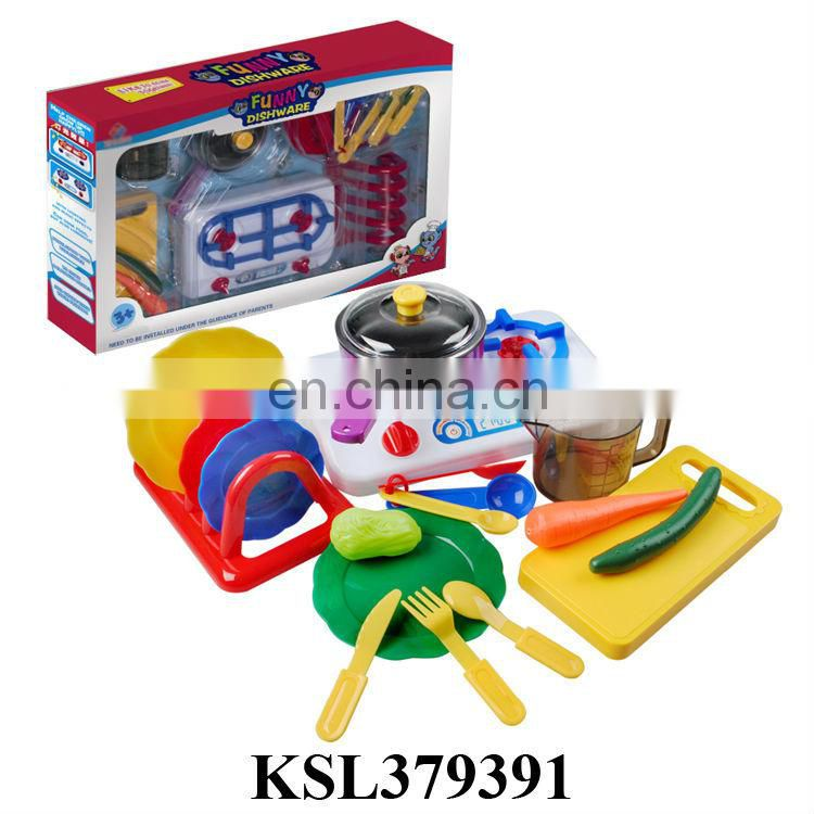 Funny dishware plastic kitchen play set toy
