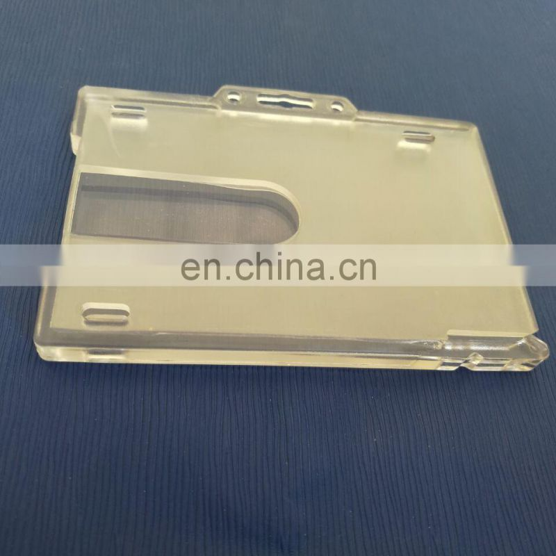 Top quality stiff plastic clear name badge ID card holder in PC material