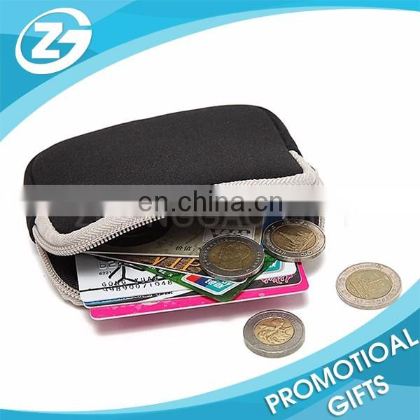 Rectagular Shape Cheap Custom Image Printed Black Kids Small Neoprene Card Pouch Coin Purse Bag