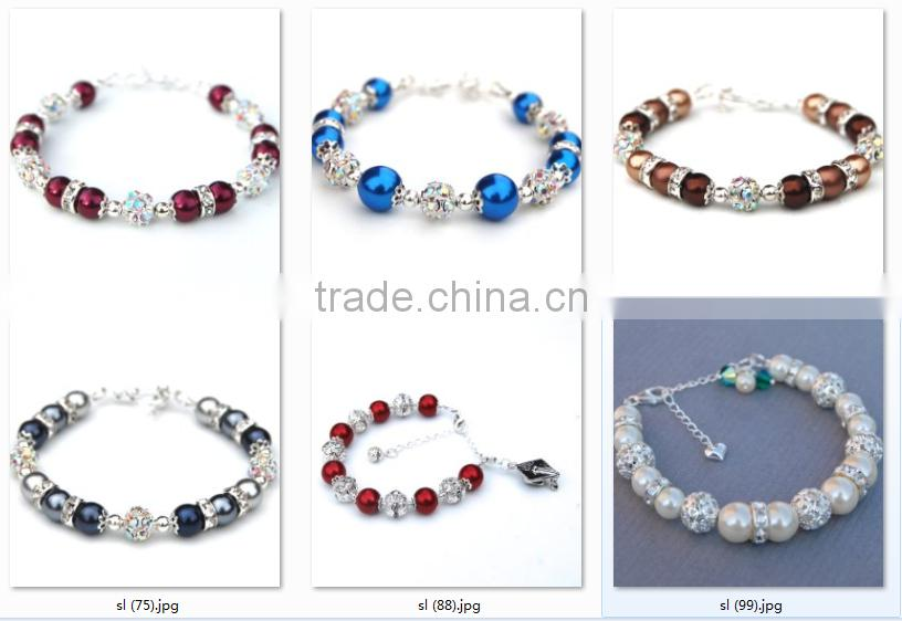 fashion big round colored glass pearl bracelet diamond crystal beads bracelet with adjustable clasp