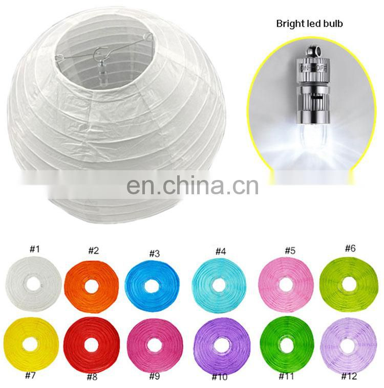 led paper lantern Chinese round paper lantern with led light support custom pack