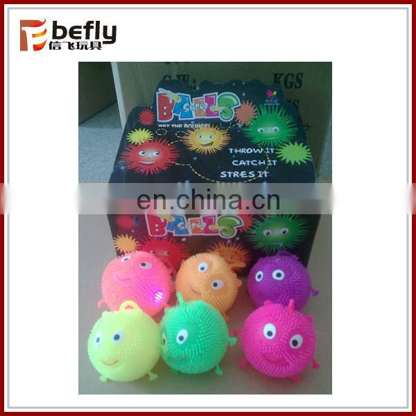 Promotional flashing spiky worm puffer ball for kid