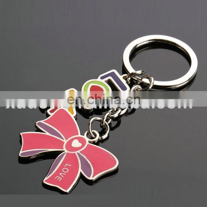 Sweet colorful metal love letter with bowknot shaped metal keychain