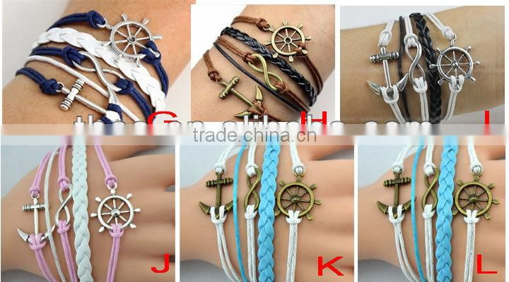 CB8170 china jewelry wholesale anchor leather bracelet alibaba website braided friendship leather bracelet
