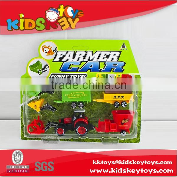 Pull back die cast metal farmer tractor mini pickup truck farm truck