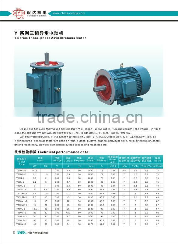 Y Series Casting Iron Casing Housing 3 Phase Three Phase Electric Motors AC Motor Induction Motor ...