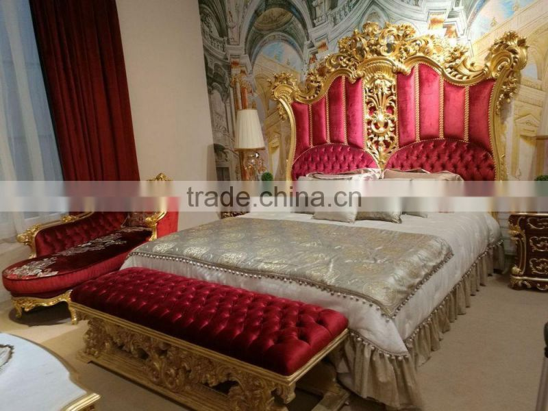 European Italy Style Bright Color Royal Wedding Bedroom Furniture Set Luxury Designed Marvelous Palace