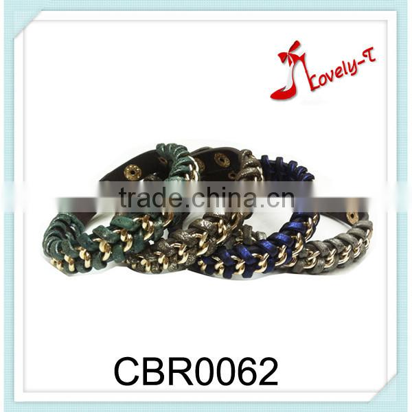 New fashion hand chains snappre PU leather alloy chain bracelet,braided fancy chain bracelet for girls