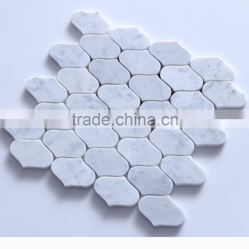 IMARK Lantern Bianco Carrara White Marble Stone Mosaic Backsplash Tile For Wall Tile Decoration
