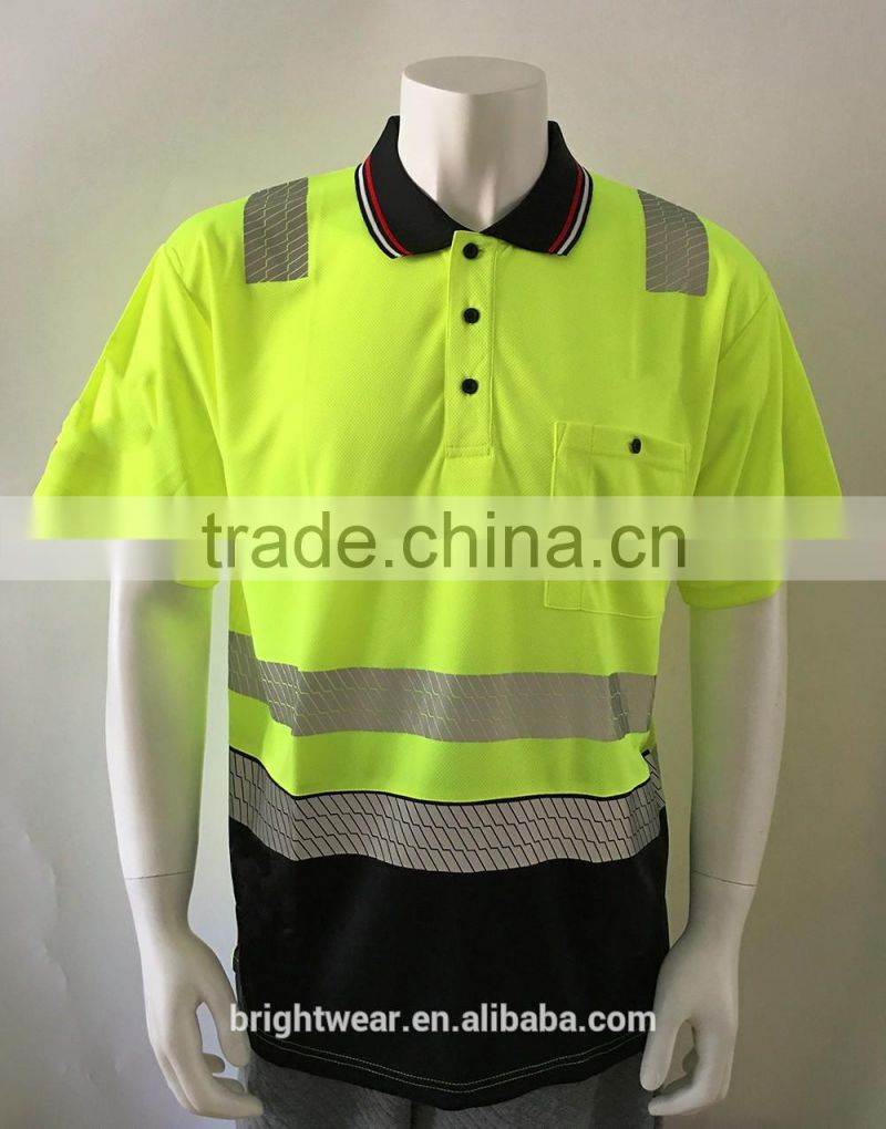 Mens Custom Printed Chest Pocket Two Tone High Visibility