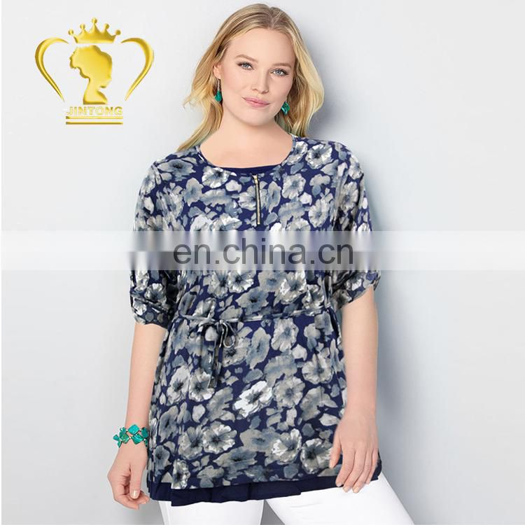 Asymmetrical Hemline Spring New Design Ladies Normal Blouse Images