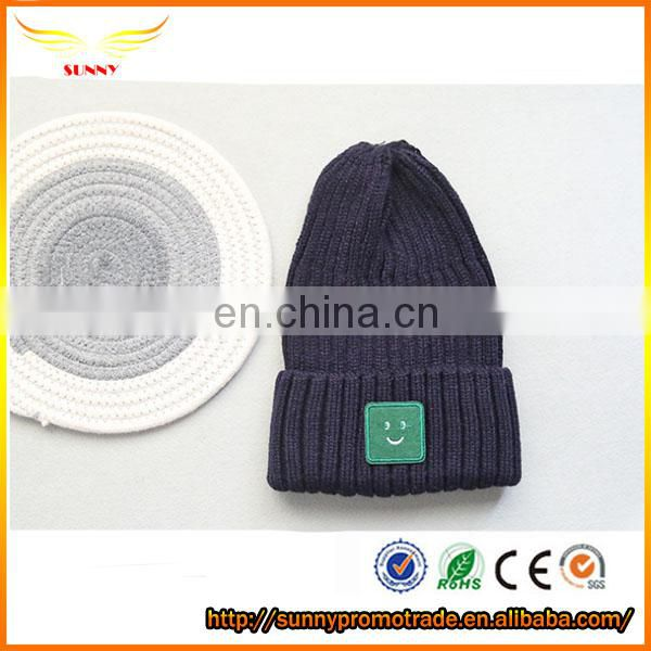 knitted long beanie hat with custom lable