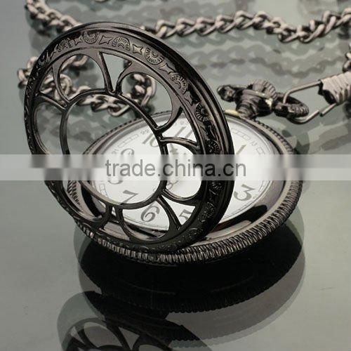 Men's Dark Silvered Stainless Steel Case White Dial Antique Pocket Watch with Chain WP005