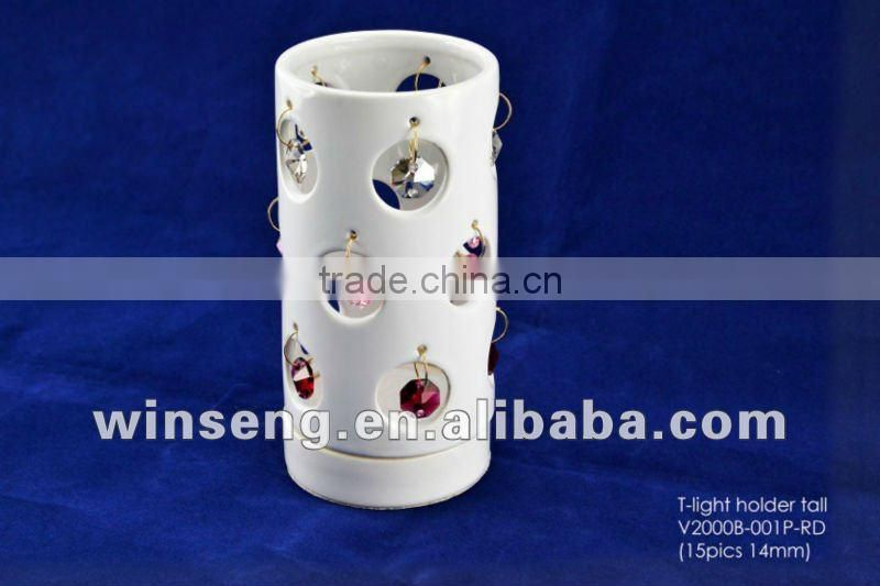 White Ceramic Large T-light Holder with Crystals from SWAROVSKI