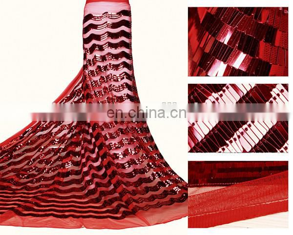 Red color embroidery beaded sequined lace fabric