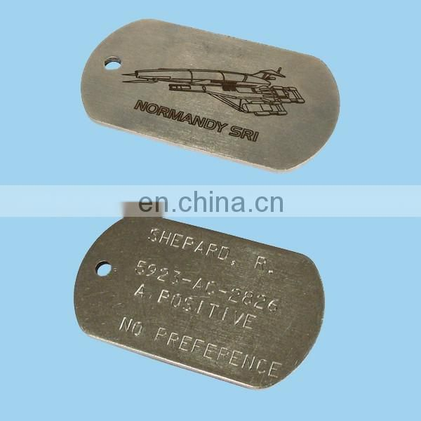 Stainless steel dog tags with custom design