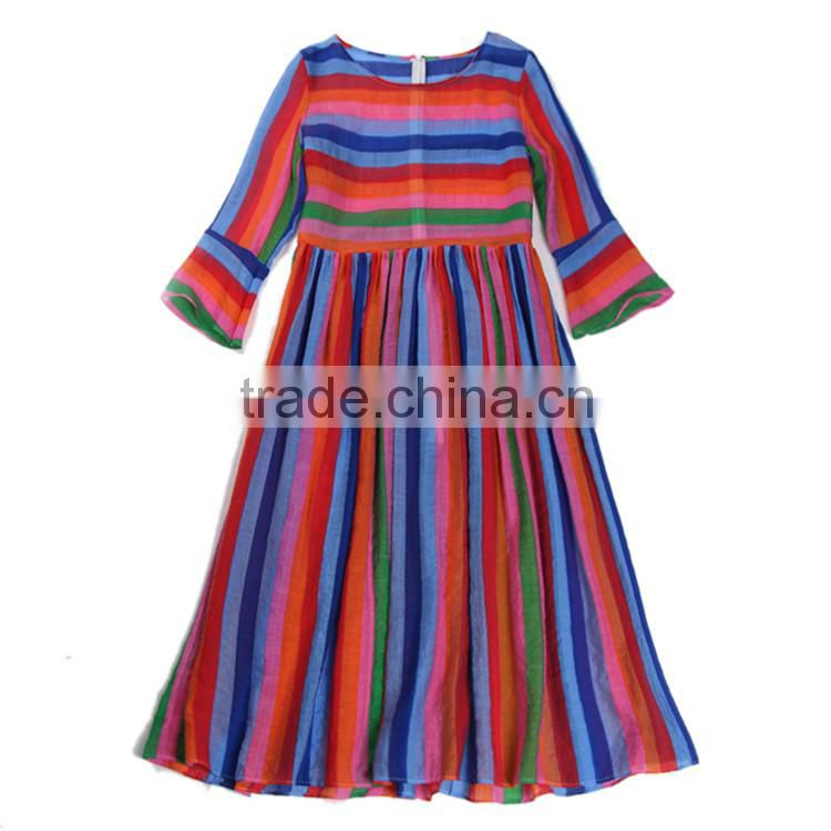 new arrival women summer fashion Striped Colorful dresses for girls of 10 years old, designer dresses, turkish evening