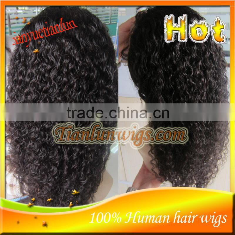 In Stock Brazilian Virgin Human Hair Spanish Curl Full Lace Wig Baby Hair Around The Perimeter