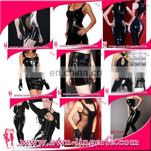 factory price wetlook dress black leather clubwear zipper up back lace hollow out erotic wet look dress